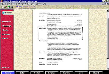 winway resume software free